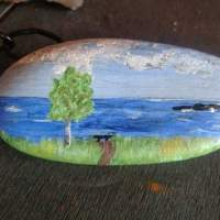 Rock painting of path to the beach, a gift from a guest.